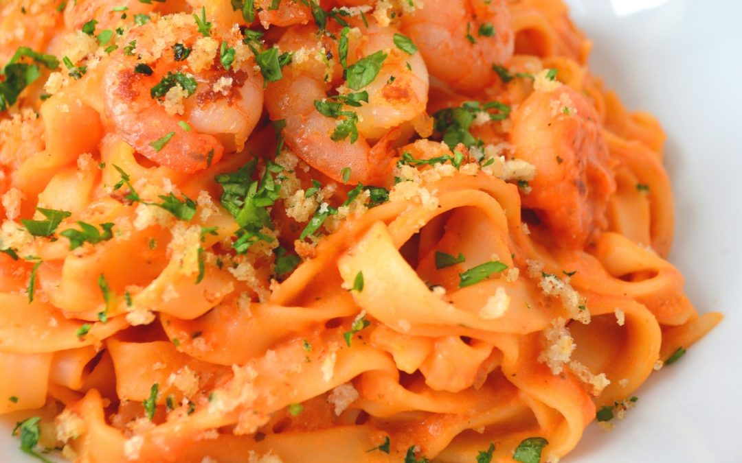 Chilli Prawn Tagliatelle with Herby Pangrattato