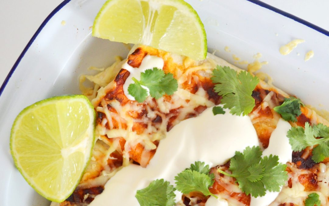 Three Bean Enchiladas with Cascabel Chilli Sauce (V)