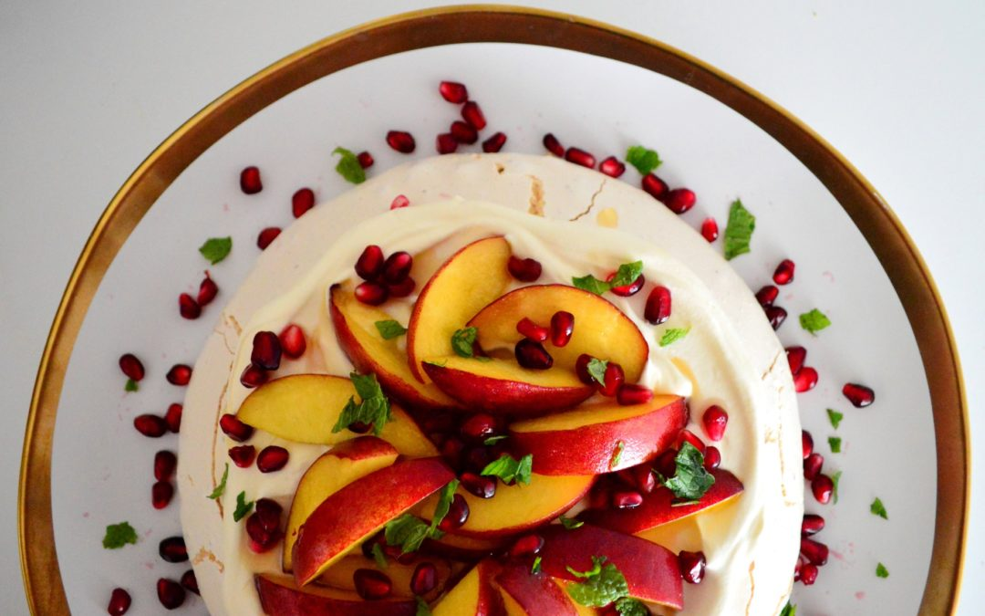 Peach & Pomegranate Pavlova with Naga Chilli Honey
